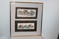 India Hinduism Painting Fabric Elephants Procession Colorful Framed 2 Paintings
