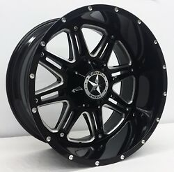 22 Black Cnc Lonestar Offroad Outlaw Wheels 22x12 5x139.7 -44mm Dodge Ram 1500