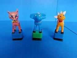 Lot-3 Vintage Hard Plastic Push Button Toys,cow, Elephant, And Fox Great Cond.