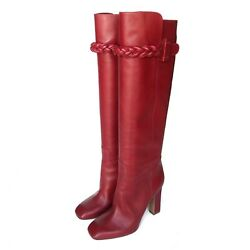 Valentino Rosso Red Leather Braid Knee High Chunky Heeled Boots Nwot Sz 38.5
