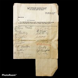 Wwii 1943 Signature Sheet Of 812 Bombardier Training Squadron Army Air Force