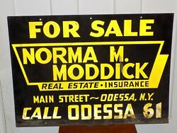 Vintage Odessa, Ny Real Estate Sign With Shmalts Letter For Reflection