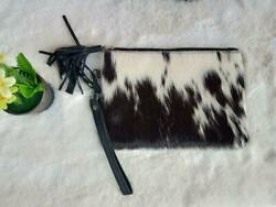 Women Cowhide Clutch Real Leather Hair On Black And White Fur Wristlet Wallets $30.00