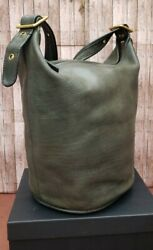 Rare Vtg 80s Coach XL Green Leather Feed Bucket Bag serial # but style 9085 GVC $150.00