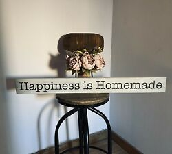Happiness Is Homemade Sign Distressed Grey Shabby Chic