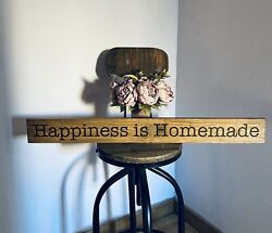 Happiness Is Homemade Sign Rustic Oak Stained Shabby Chic