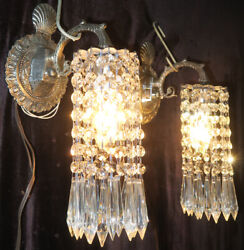 2 Vintage Silver Brass Fountain Waterfall Lily Crystal Prism Lamp Shell Sconces