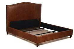 Queen Size Leather Bed In Tobacco Brown Genuine Leather W/ Brass Nail Head Trim