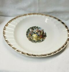 Vintage China Gold Colonial Courting Couple People - Oval Serving Platter