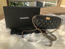 Chanel Boy Double Zip Clutch With Chain Black Quilted Caviar GHW WOC Wallet on $1629.99