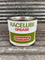 Nos - 1970's Conoco Racelube Grease Can 1 Pound - Gas And Oil
