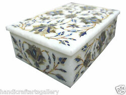 6x4x2 Marble Jewelry Box Abalone Shell Inlay Floral Art Best Gifts For Girls