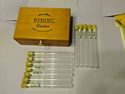 Vintage Bering Casinos Wooden Cigar Box 12 Glass Tubes, And Cork Stoppers