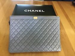 Chanel Gray Boy Leather Pouch $850.00