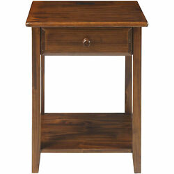 Casual Home Night Owl Bedside Nightstand With Usb Ports Warm Brown Open Box