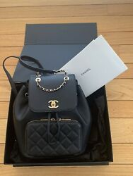 MAGNIFICENT CHANEL CAVIAR AFFINTY Grained Black GOLD Hardwaer Ecellect Condi $3858.00