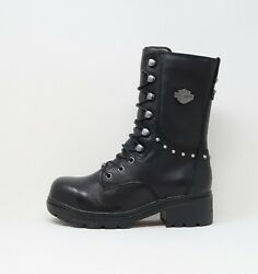 Harley Davidson Women Cherwell Leather Mid Calf Steel Toes Black Boots