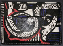 Versace Men#x27;s Bold Barocco Print Leather Card Holder Black White amp; Red $150.00