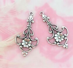 Antique Silver 2 Pieces Small Boho Earring Drops Filigree Stamping E-353