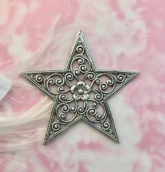 Antique Silver Large Filigree Floral Star Stamping Flower Finding Fa-6013