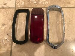 1941 Original Glass Cadillac Taillight Turn Signal Lens Cover And Chrome Surround