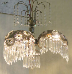 Palm Frond Tole Brass Spelter Lamp Chandelier Vintage Crystal Ab Flower Hollywoo