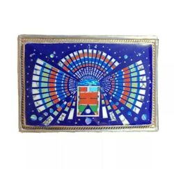 Zuni Navajo Sterling Silver Kachina Turquoise And Opal Inlay Belt Buckle 3 By Jr