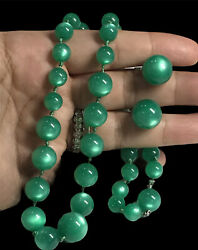 Sterling Moon Glow Green Lucite Graduating Beaded Necklace Earrings Vintage Set