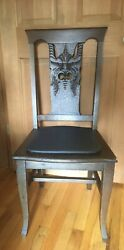 1890s Grotto-esque Chair-michigan Chair Co.grand Rapids Mi Oak With Leather Seat
