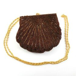 Beaded Seashell Clam Shell Brown Purse Evening Bag Gold Tone Chain Strap $14.99