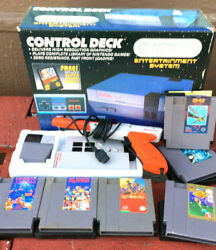 Vintage Nintendo Control Deck With Box Complete With Book And 75 Games Reduced
