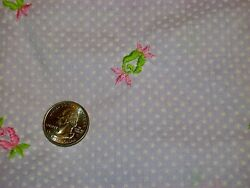 Vintage 60s Lavender Dotted Swiss Embroidered Flower Cotton Fabric Unused 90 In
