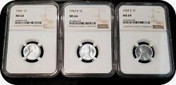 1943 P + D + S 1c Lincoln Steel Wheat Cent Ngc Ms 64 Three Coin Lot