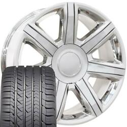 22 Rims Tires Fit Cadillac Escalade Tahoe Yukon Chrome Wheels Gy Tires 4739