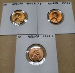 Lincoln Wheat Cents Chbu Red Top Quality 1941-1942