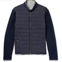 Purple Label Navy Quilted Reversible Jersey Hybrid Bomber Jacket