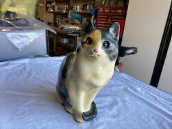 Beautiful Vintage TABBY CAT Porcelain Figurine 11quot; Eyes Appear Real
