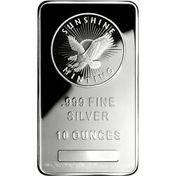 10 oz. Silver Bar Sunshine Minting .999 Fine $263.59