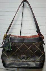 Dooney amp; Bourke Navy Blue Diamond Quilted Florentine Leather Hobo Gold Hearts $53.99