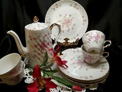 Vintage Lefton Moss Rose Swirl Teapot And 4 Luncheon - Snack Plates W/ 4 Teacups