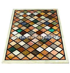 25x50 Marble Top Dining Table Multi Stone Mosaic Inlay Restaurant Decors B066a