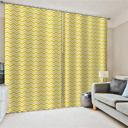 Line Game Yellow Symmetric Line Printing 3d Blockout Curtains Fabric Window