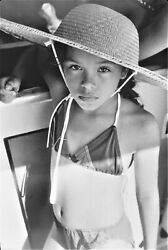Vintage B And W 80s Portrait Photograph Of Beach Goer At Coney Island, Ny