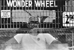 Vintage B And W 80s Portrait Photograph Of Wonder Wheel At Coney Island, Ny