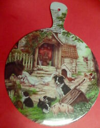 Border Collie Dog Puppies Country Kitchen Wall Decor Plastic Cutting Board