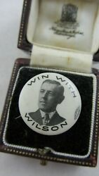 Political Badge Button 1912 Woodrow Win With Wilson Campaign Pinback