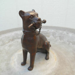 VINTAGE CAST METAL BRONZED BOXER DOG SCULPTURE