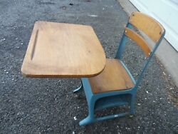 Vintage Cast Iron And Solid Oak Child's School Desk Table Chair With Caster Wheels