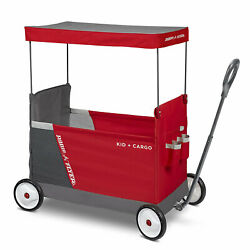 Radio Flyer Kid And Cargo Folding Wagon With 2 Seats And Canopy, Red Open Box