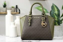 Michael Kors Ciara Saffiano Leather Signature Duffle Medium Satchel Handbag $125.00